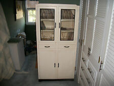 Vintage 1940s White Deco Wood Kitchen Cupboard Cabinet Stenciled Glass - Excel