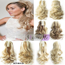 Wave Curly Claw Drawstring Human Hair Ponytail Extensions Easy Clip In Pony tail