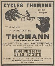 Z9418 Cycles THOMANN -  Pubblicità d'epoca - 1921 Old advertising