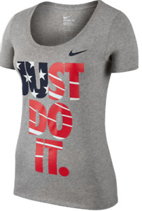 Nike T Shirt Womens Authentic Team USA Just Do It Short Sleeve Graphic Tee Gray