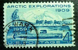 1128 used 1959 4c Arctic Explorations submarine Eskimo dog sled Robert Peary ice