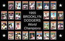 BROOKLYN DODGERS 1955 World Series Vintage Baseball Card Custom Poster Decor Art