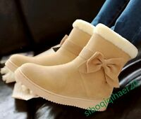 New Fashion Women's Ankle Boots Fur Bowknot Sweet Winter Warm Snow Casual Shoes
