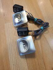 2 Panasonic PNLC1050 YA Cordless Phone Base Charger Silver w/PNLV233 AC Adapter
