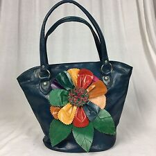 Handcrafted Leather Shoulder Bag Tote Purse Handbag Blue Flowers Flower