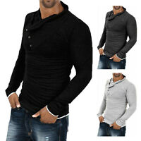 Mens Tops Slim Fit Casual T-shirts Polo Shirt Long Sleeve Cotton Tee Lot Tie#