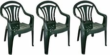 3 x Plastic Low Back Garden Chair Light Weight Home Camping Picnic Fishing Green