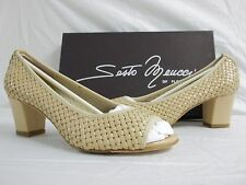 Sesto Meucci Of Florence Size 8 M Perrine Cream Leather Heels New Womens Shoes