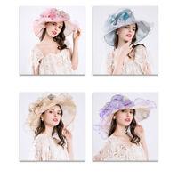 Elegant Women Wide Brim Kentucky Derby Church Sun Hat Occasional Organza Hat