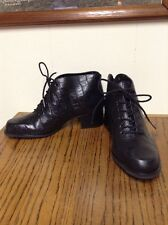 NEW AUDITIONS Bootie Black Croc Embossed Leather Sz 6 W Lace-up Steampunk Granny