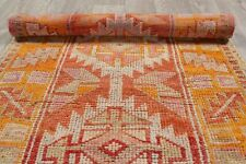 Muted Oushak Runner Rug Wool Hand-Knotted Oriental Geometric 3x12 Turkish Carpet