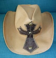 BULL HIDE Brown Straw NO MERCY COWBOY HAT Leather Cross Western Sun Cap Sz SMALL