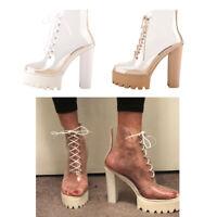 Onlymaker Women's Transparent Ankle Boots Chunky High Heel Platform Sandal Shoes