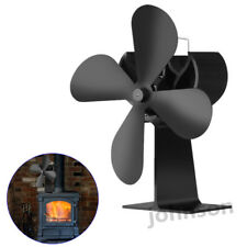 Heat Powered 4 Blade Stove Fan Log Wood Fireplace Burner Eco Ultra Quiet Black