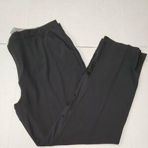 Adidas Men's Golf Black Casual Pants Flat Front 40×32 Excellent Condition
