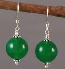Beads Silver Hook Earrings Fashion 10mm Green Jade Round