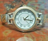 Ladies Two Tone Quartz Watch by Carriage (Timex) with stretch band - 7  inches