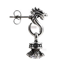 silver stud stainless steel crystal SINGLE vintage dragon earring