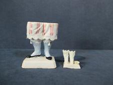 Boots Feet Figurines Legs Pantaloons Stripes Mini Shoes Porcelain Vtg Set of 2