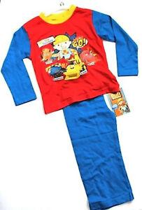 Boys Toddler Bob The Builder Pyjamas Set PJs Bottoms Top 100% Cotton 1-4 years