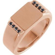 14K Rose Gold Black Diamond Men's Signet Ring Size 10