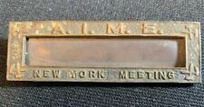 Ca. 1900's AIME New York Meeting Name Tag American Institute of Mining Engineers