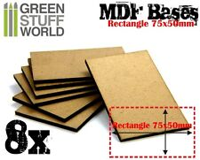 8x MDF Bases - Rectangle 75x50mm - Thickness 3mm Basing Laser Wargames Demigryph