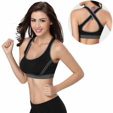 Women Sport Yoga Bra Running Gym Padded Fitness Tops Tank Workout Zipper Stretch