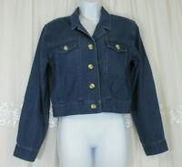 Talbots Denim Jacket 6 Blue Jean Cotton Long Sleeve Button Cropped Womens Casual