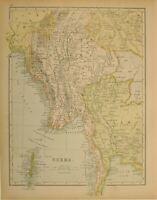 1897 ANTIQUE MAP BURMA SIAM SHANSTATE MANIPUR ANDAMAN ISLANDS