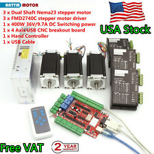 Us3 Axis Usb Cnc Controller Kit Nema23 425oz In 112mm Stepper Motor Driver Cnc