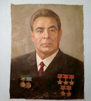 Original Soviet Russian Oil painting Realism Portrait of Leonid Brezhnev 1970s