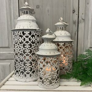 Set of 3 White Metal Lanterns Vintage Antique Candle Moroccan Garden Shabby Chic