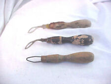 LOT OF  3  VINTAGE WOODEN SHIRT COLLAR BUTTONER BUTTON HOOK AID TOOL
