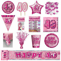 Glitz Pink 40th Birthday Party Tableware Decoration Plates Banners Candle Age 40