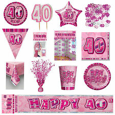 Pink Glitz Age 40 / 40th Birthday Hanging String Party Decorations &