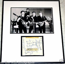 THE BEATLES HAND SIGNED CUSTOM FRAMED ALBUM PAGE LENNON MCCARTNEY STARR PSA GUAR