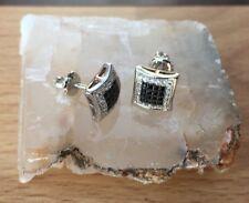 Mens & Ladies 18K W Gold Finish Two Tone Lab Diamond Screw Back Stud Earrings