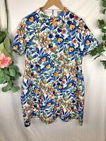 ASOS Orange Blue Floral Short Sleeve Scuba Dress - Size 20