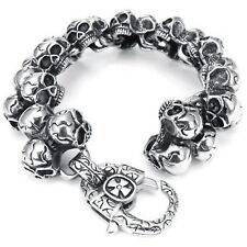 MENDINO Heavy Men's Skull Link Wrist Gothic Biker 316L Stainless Steel Bracelet