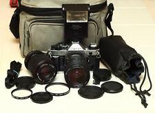 Canon AE-1 Program 35mm Film Camera with 2 Lenses, Flash & Case - CLA'd!!!