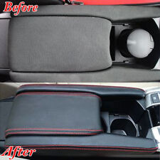 Black w/Red Line Center Armrest Box Leather Case Covers For 2016 17 Honda Civic