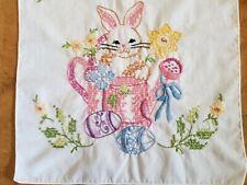 VTG Easter Needlepoint Long Table Runner Bunny Watering Can Eggs daisy Flowers