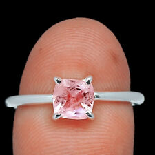 Faceted Morganite - Madagascar 925 Sterling Silver Jewelry Ring s.8 AR197722