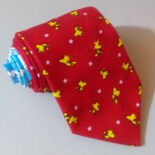 New Red Woodstock Peanuts Themed Necktie Fine Cotton NWT Handmade in USA