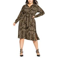 City Chic Womens Brown Twist Front Workwear Shirtdress Plus 18 M BHFO 1061