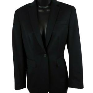 Land's End Black Shoulder Padded One Button Jacket Women's Petite Size 4P