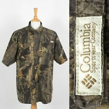 MENS COLUMBIA SHORT SLEEVE SHIRT PERFORMANCE FISHING GEAR CAMOUFLAGE PATTERN XL