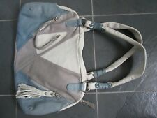 THE TREND Made in ITALY Genuine Leather Shoulder Bag Purse Blue Gray White