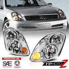 For 2003-2004 Inifiniti G35 Sedan 4D VQ35 Chrome Style Headlights Assembly PAIR
